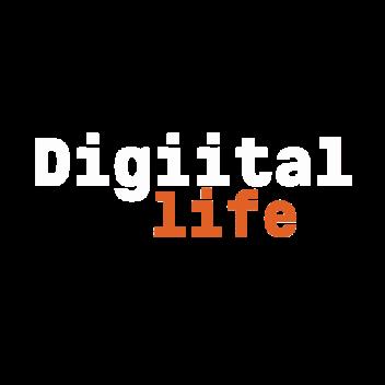 Digital life logo white